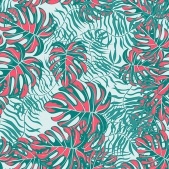 ピンクの熱帯の葉花柄シームレスパターン。