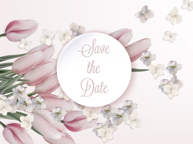 Pink tulips birthday invitation card