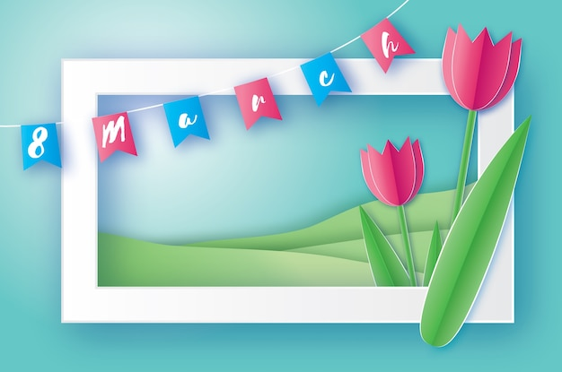 Pink tulips paper cut flower. 8 march women's day greeting card. origami floral bouquet. rectangle frame, flags and space for text. happy women's day on blue background.