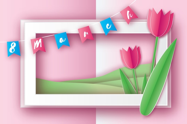 Pink tulips paper cut flower. 8 march women's day greeting card. origami floral bouquet. rectangle frame, flags and space for text. happy women's day.