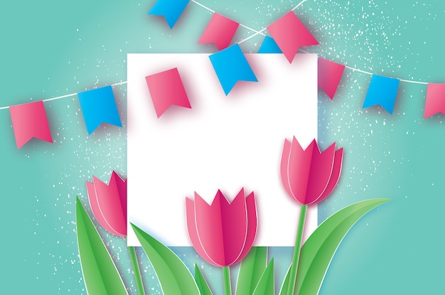 Pink tulips paper cut flower. origami floral bouquet. square frame, flags and space for text.