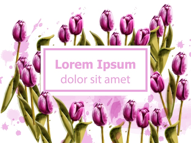 Pink tulips spring card watercolor