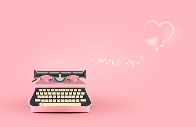 Pink typewriter with a message of love