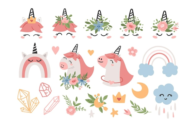 ピンクのユニコーンとレインボーキッズクリップアートセット。漫画のパステルカラーの赤ちゃんユニコーンの顔
