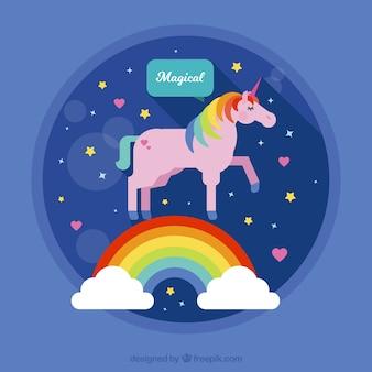 虹と雲とピンクユニコーンの背景