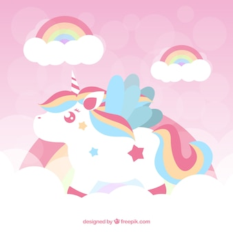 Sfondo rosa unicorno con arcobaleno