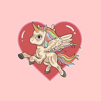Pink unicorn love cute illustration vector