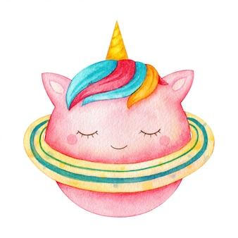 ピンクのユニコーンの惑星。虹の髪とリングの装飾的な角のある月。