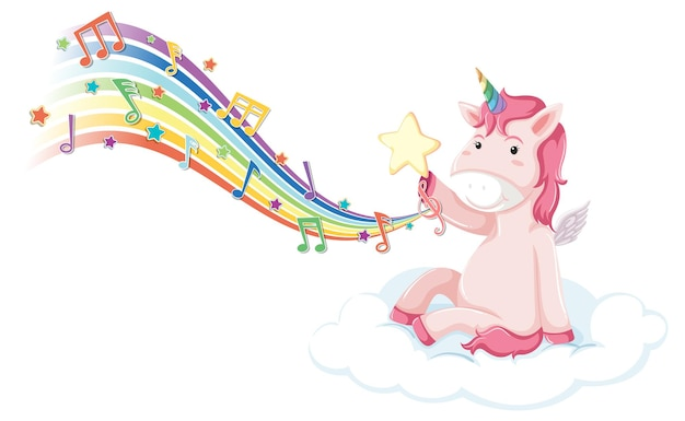 Pink unicorn sitting on the cloud with melody symbols on rainbow