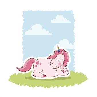 ピンク、ユニコーン、眠っている、牧草地