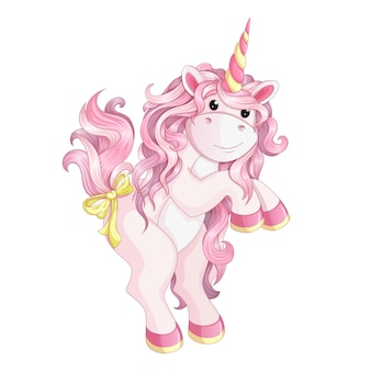 A pink unicorn stands on its hind legs.