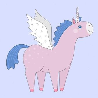 白い背景の上の翼を持つピンクのユニコーン。ベクトルで作られました。はがき、ポスター、版画、表紙、お土産、子供用テキスタイル
