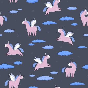 濃い灰色の背景にピンクのユニコーン、雲、星。フラットスタイルのシームレスパターン。ベクトルで作られました。デザイン、包装紙、テキスタイル