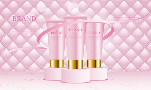 Pink uphostery background with podium cosmetics