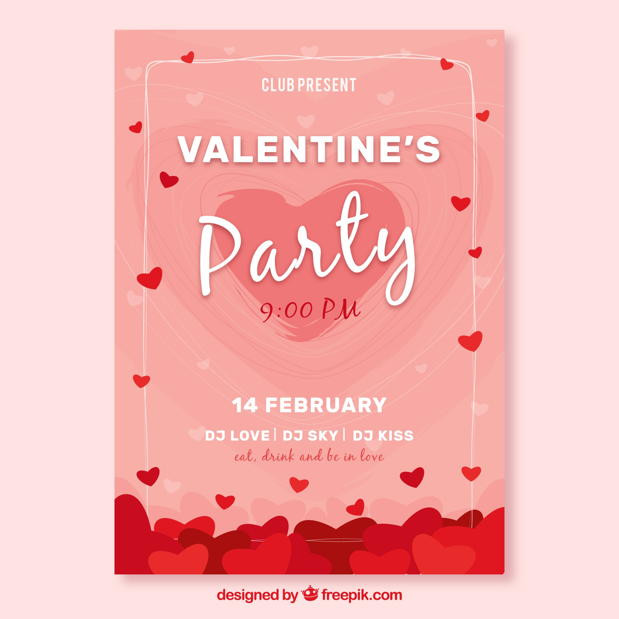 Pink valentine cover template