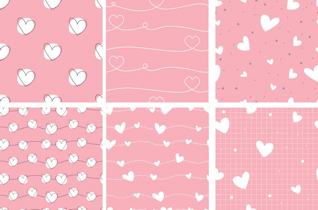 Pink valentine doodle heart seamless pattern collection