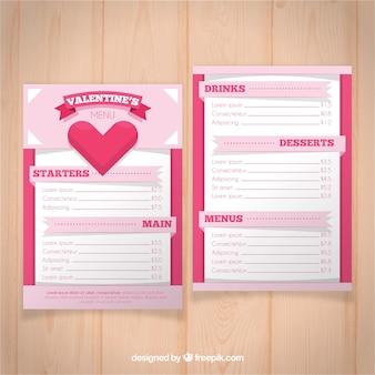 Концепция меню из розового валентина