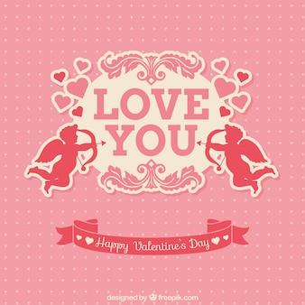 キューピッドピンクバレンタインカード