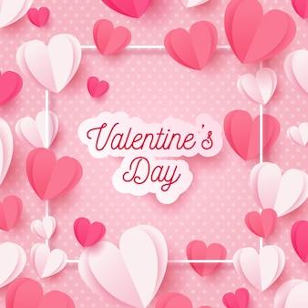 Розовый день святого валентина фон в бумажном стиле