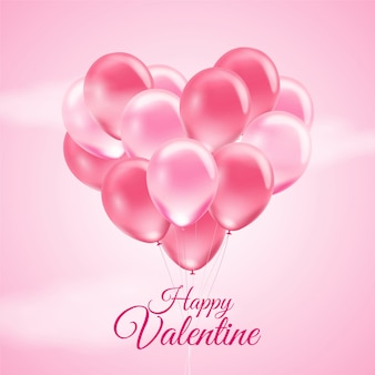Pink valentine's day background with 3d realistic balloons on pink background