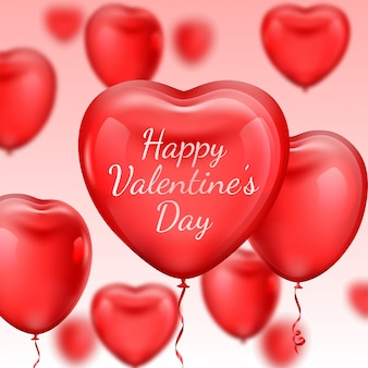 Pink valentine's day background with 3d realistic heart shape balloons on pink background