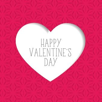 Fondo rosa di san valentino con forma del cuore del taglio della carta