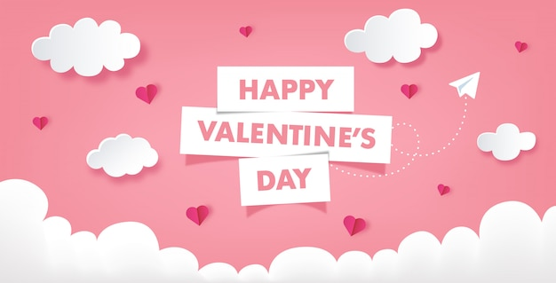 Pink valentine's day banner