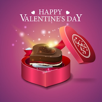 Pink valentine's day greeting card with chocolate candy