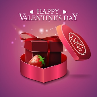 Pink valentine's day greeting card with gift and strawberry