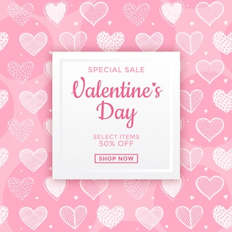Pink valentine's day sale ad design
