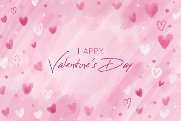 Pink valentines day background with hand drawn hearts