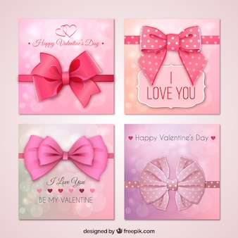 Pink Valentines day cards with a big bow