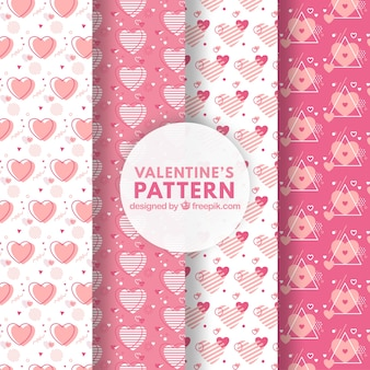 Pink valentines day pattern set