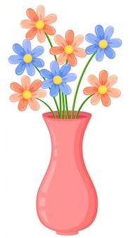 A pink vase with flowers