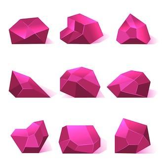 Розовые векторные кристаллы драгоценных камней для игровых приложений