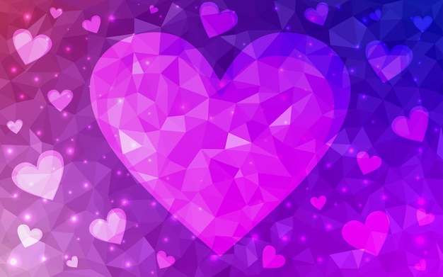 Pink vector love background with heart