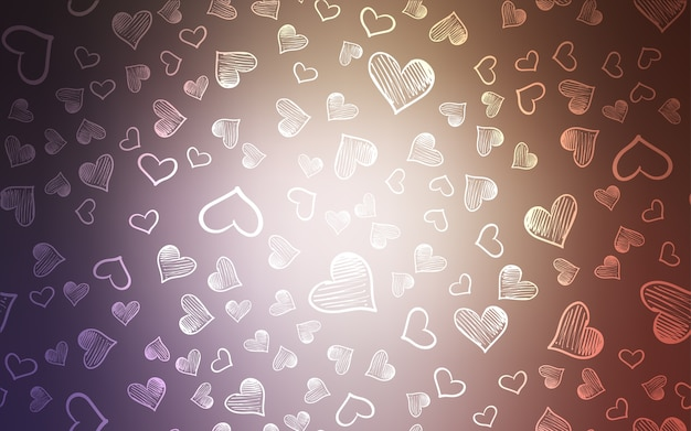 Pink vector pattern with colorful hearts