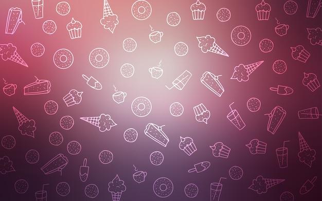 Розовый шаблон вектор с сладкие закуски