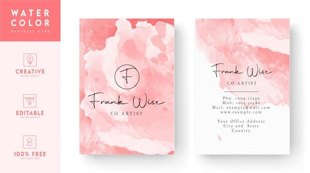 ピンクの縦水彩名刺