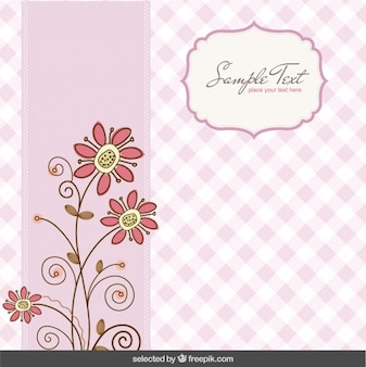 Pink vichy floral background