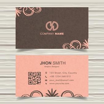 Pink vintage business card design