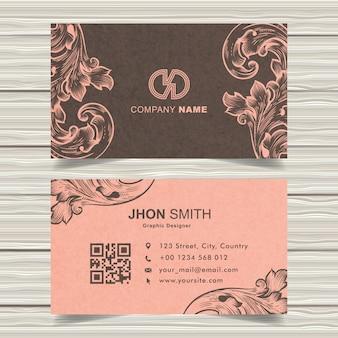 Pink vintage business card vector design
