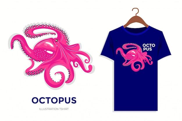 Pink vintage octopus illustration