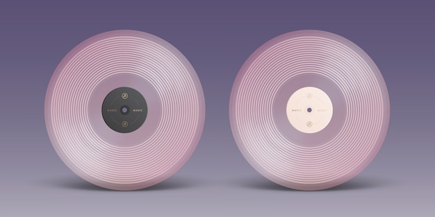 Pink vinyl record isolated on background