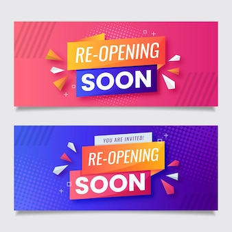 Pink and violet re-opening soon banner template