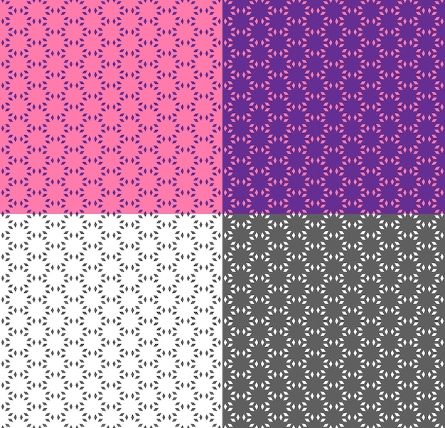 Pink and violet seamless geometric pattern in ethnic style. vector monochrome background. repeating texture with polygon for wallpaper, packaging, fabric print, backdrop, textile. color inversion.