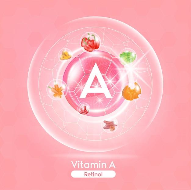 핑크색 비타민 a 약 캡슐 유리기를 중화시키는 과일과 채소