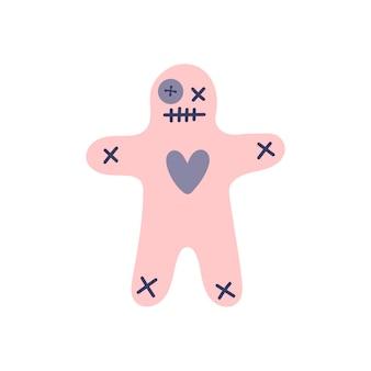 흰색 바탕에 핑크 부두 인형입니다. 마법, 요술., 해로움, 복수, 흑마법. 손으로 그린된 벡터 고립 된 단일 그림입니다.