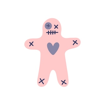 Pink voodoo doll on a white background. magic, witchcraft., harm, revenge, black magic. hand drawn vector isolated single illustration.