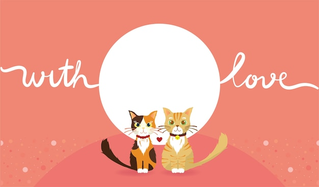 Pink wallpaper of cat couple with love